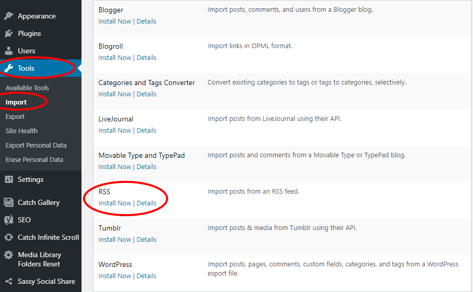 RSS Import in WordPress