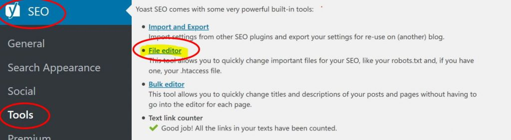 TextEditor htaccess 301 redirect wordpress