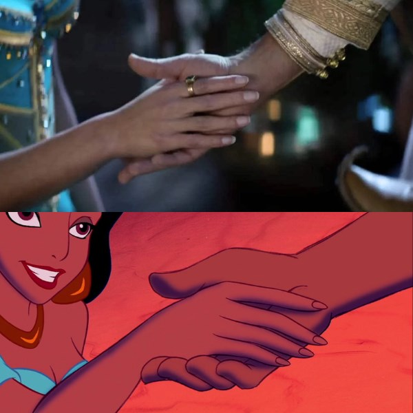 Jasmine takes hand aladdin 1992 and 2019