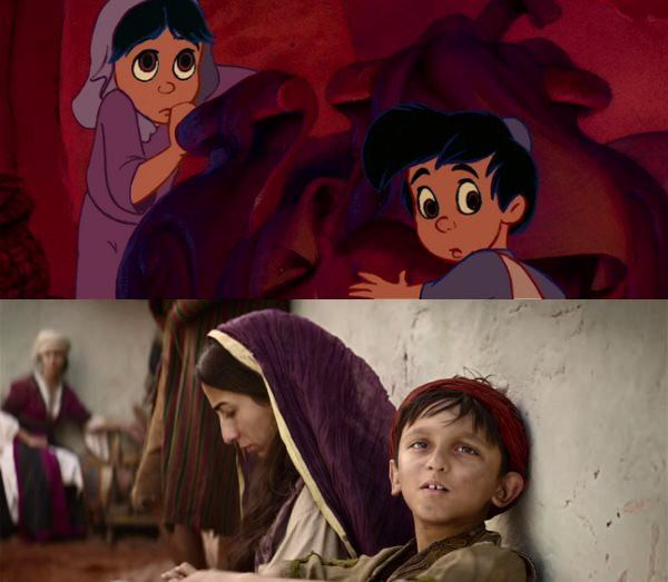 hungry kid Aladdin animation vs live action