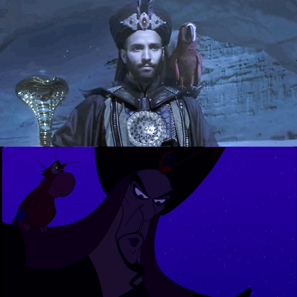 jafar iago aladdin original animation vs live action